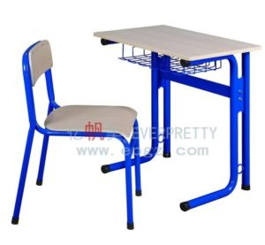 Children Wooden Single Werzalit Top Desk and Chair for Classroom pictures & photos