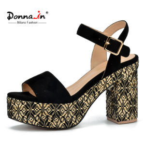 Lady Casual Microfiber Women Weave Platform High Heels Sandals pictures & photos