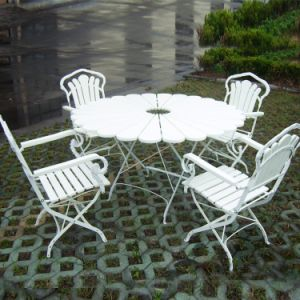Outdoor Folding Wooden Chair with Steel Flat