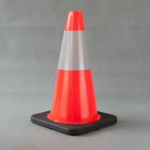 45cm Traffic Cone with Black Base with High Intensity Reflective Tape pictures & photos