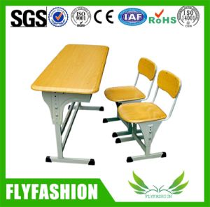 Height Adjustable Student Desk with Chair School Classroom Double Table pictures & photos