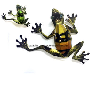 New Metal Frog Wall Art W. Stained Glass Garden Decoration