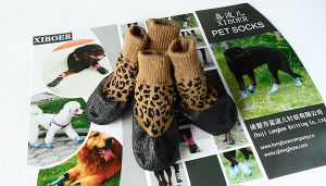 Fashion Leopard Waterproof Non-Skid PVC Harmless Dog Socks pictures & photos