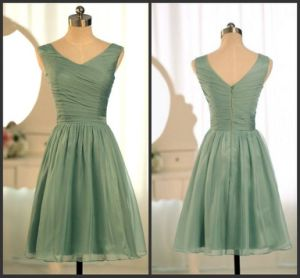 Sage Green Cheap Bridesmaid Dress Fashion Vestidos Wedding Formal Short Dresses Ld1161 pictures & photos