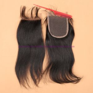 Mongolian Straight Lace Closure 8A Bleached Knots Free /Middle /3 Part Closure Best Quality 4*4 Virgin Hair Lace Closure with Baby Hair pictures & photos