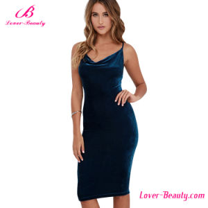 Flirty Cami Velvet Bodycon Women Dress pictures & photos