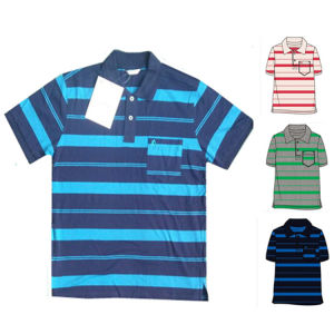 Men′s Yarn Dyed Polo Shirt 95% Cotton 5% Spandex Embroidery pictures & photos