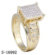 High Quality 925 Silver CZ Rings Yellow Gold Plated Ladies Rings pictures & photos
