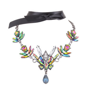 Fashion Satin Colorful Rhinestone Crystal Collar Choker Necklace Jewelry pictures & photos