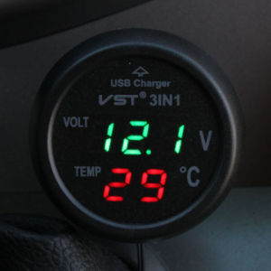 Multifunction Car Digital Voltmeter Thermometer USB Car Charger 3 In1 pictures & photos