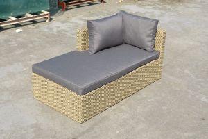 Patio Outdoor Garden Furniture Double Half Round Wicker Rattan Sofa (J713KD) pictures & photos