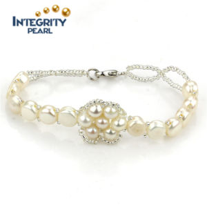 7mm AAA Button Cheap Pearl Bracelet Natural Freshwater Women Pearl Bracelet pictures & photos