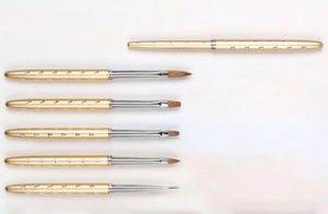 Nickel Plated Brass Ferrule Handle Mink Hair Nail Brush Set pictures & photos