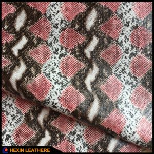 Snake Synthetic PU Leather for Grament Cloth Hx-G1704 pictures & photos