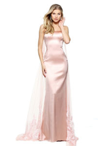 New Fashion Fitted Stretch Satin Cocktail Dress with a Beaded Back and a Tulle Embroidered Float pictures & photos