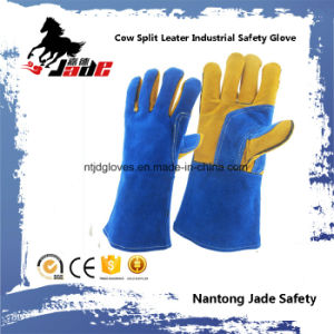 Fine Blue Cow Split Leather Industrial Safety Welding Work Glove pictures & photos
