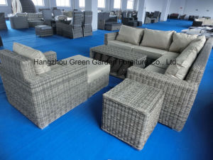 Luxury Round Wicker Sofa with Storage Coffee Table Set pictures & photos