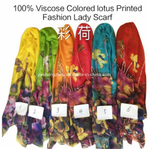 100% Viscose Hot Sale Fashion Ladies Colored Lotus Printed Scarf pictures & photos