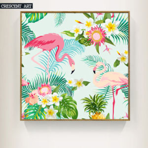Canvas Print Wall Art of Flamingos and Flowers pictures & photos