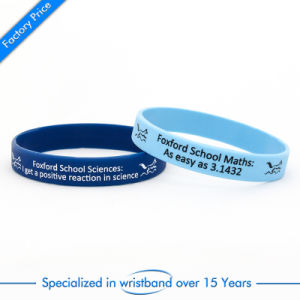 Customized Silk Screen Printed Silicone Wristband pictures & photos