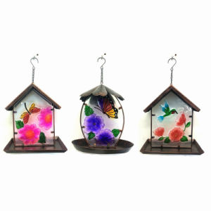 3 Asst Stained Glass Decorated Metal Garden Birdfeeder