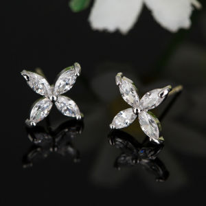 Fashion Imitation Earrings-Cubic Zircon Crystal Stud Ear Jewelry