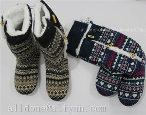 Ladies Women′s Warm Knitted Comfortable Indoor Slipper Boots pictures & photos