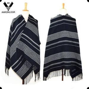 Woven Acrylic Fashion Big Striped Shawl with Fringes pictures & photos