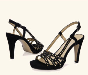 Lady Casual Crystal High Heels Women Suede Leather Platform Sandals pictures & photos