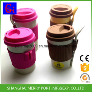 Custom Color Avaliable Plant Fiber Tea Cup with Silicone Lid and Silicone Sleeves pictures & photos