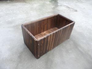 Burnt Cedar Wood Rectangle Patio Garden Planter Bed Box