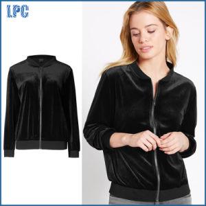 Simple Black Fleece Zipper Lady Jacket pictures & photos