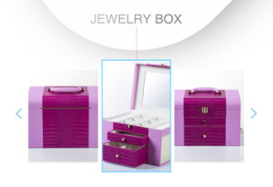Modern Lovely Hand-Held Pink MDF Leather Wedding Jewelry Packing Box pictures & photos
