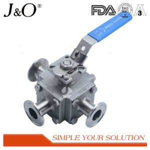 Encapsulated Seal Four-Way Sanitary Tube Butt Weld Ball Valve pictures & photos