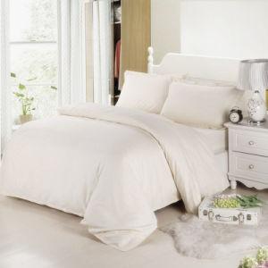 Durable 100% Cotton Hotel White Checked Comforter Set/ Satin Check Bedding Set (WS-2016030)