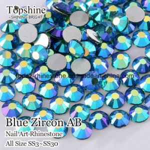 Non Hot Fix Nail Art Crystal Blue Zircon Ab Rhinestones Ss4 Ss6 Ss8 Ss30 Strass for Wedding Dress (FB-Blue zircon AB/3A) pictures & photos