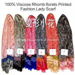 100% Viscose Hot Sale Fashion Ladies Rhomb Florets Printed Scarf pictures & photos