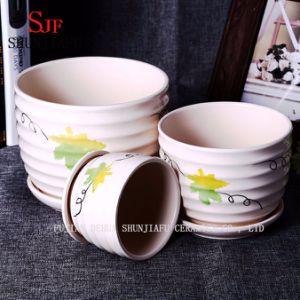 Leaf Patten Design Plant Flowerpots Attached Saucers Ceramic Pots pictures & photos