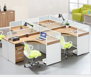 4 Seats Cluster Curved Worksation Partion Office Furniture (HX-NCD329) pictures & photos