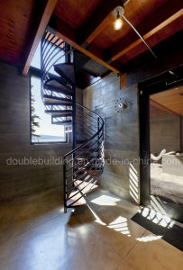 Loft Spiral Staircase / Wrought Iron Black Stairs Metal Arc Staircase pictures & photos