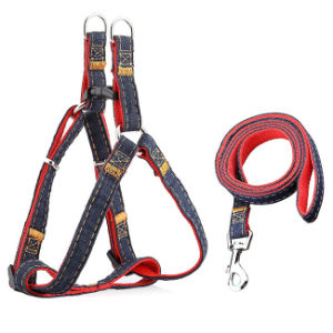 Dog Leash Harness, Adjustable and Heavy Duty Denim Dog Leash Collar for Training Walking Running, Rescue No-Pull Harness for Large/Medium/Small Dog pictures & photos