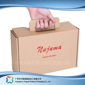 Brown Corrugated/Flute/Carton Packaging Box with Handle for Apparel pictures & photos