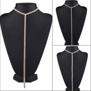 Long Sweater Chain Necklace Fashion Luxury Rhinestone Diamond Choker Necklace Jewelry pictures & photos