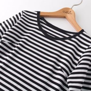 Custom T Shirt Wholesale China Clothes Women Ladies Striped Tops pictures & photos