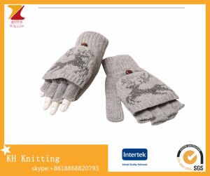 Ladies Half-Finger Knitting Gloves Clamshell Dual-Use Gloves pictures & photos