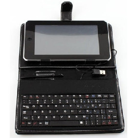 Funda Negra Con Teclado Incorporado PARA Tablet PC 7""