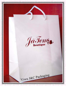 White Paper Gift Bags With Red Foiled Logo (JCBB-1078)
