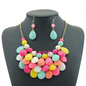 Lady Fashion Earrings Necklace Aw242 Acrylic Beads Layers Handmade Big Chain Girl Necklace Set