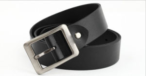 Men′s Black Genuine Leather Belt with 3.8cm Width