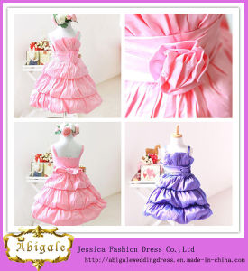 Satin A Line Thick Straps with Handmade Flower and Bowknot Tiered Evening Gowns for Kids (LH0018)